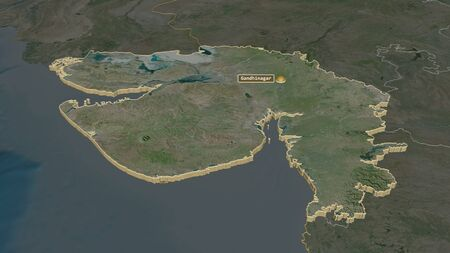Zoom in on Gujarat (state of India) extruded. Oblique perspective. Satellite imagery. 3D rendering