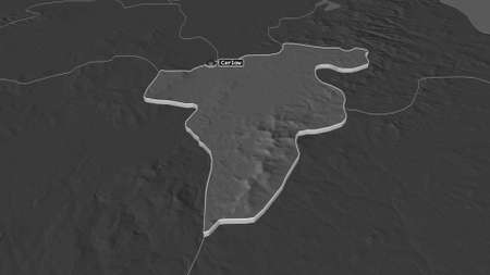 Zoom in on Carlow (county of Ireland) extruded. Oblique perspective. Bilevel elevation map with surface waters. 3D rendering Banco de Imagens