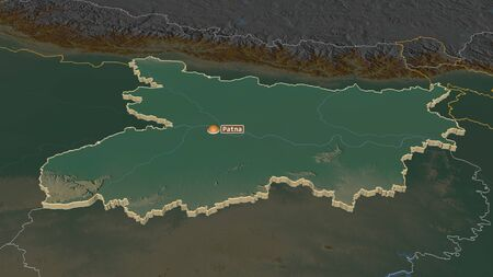 Zoom in on Bihar (state of India) extruded. Oblique perspective. Topographic relief map with surface waters. 3D rendering Stock Photo