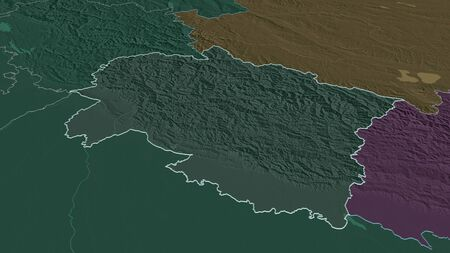 Zoom in on Uttarakhand (state of India) outlined. Oblique perspective. Colored and bumped map of the administrative division with surface waters. 3D rendering