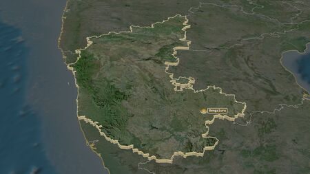 Zoom in on Karnataka (state of India) extruded. Oblique perspective. Satellite imagery. 3D rendering Stock Photo