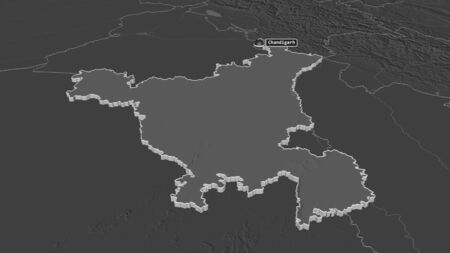 Zoom in on Haryana (state of India) extruded. Oblique perspective. Bilevel elevation map with surface waters. 3D rendering