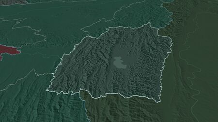 Zoom in on Manipur (state of India) outlined. Oblique perspective. Colored and bumped map of the administrative division with surface waters. 3D rendering Stock Photo