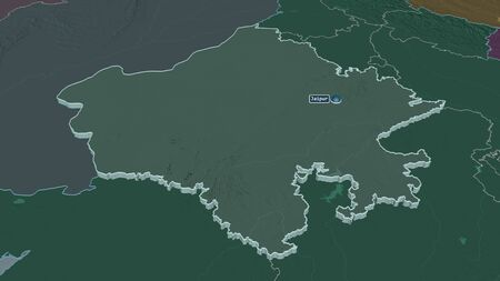 Zoom in on Rajasthan (state of India) extruded. Oblique perspective. Colored and bumped map of the administrative division with surface waters. 3D rendering