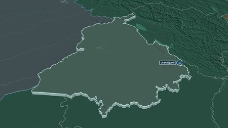 Zoom in on Punjab (state of India) extruded. Oblique perspective. Colored and bumped map of the administrative division with surface waters. 3D rendering