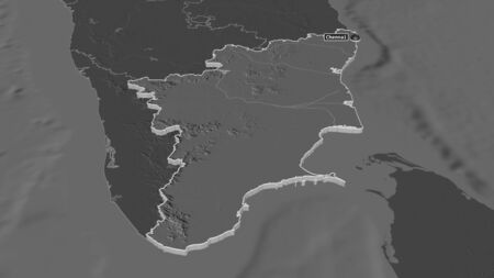 Zoom in on Tamil Nadu (state of India) extruded. Oblique perspective. Bilevel elevation map with surface waters. 3D rendering