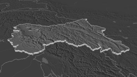 Zoom in on Jammu and Kashmir (state of India) extruded. Oblique perspective. Bilevel elevation map with surface waters. 3D rendering
