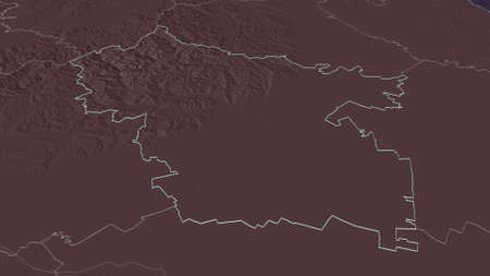 Zoom in on Buzău (county of Romania) outlined. Oblique perspective. Colored and bumped map of the administrative division with surface waters. 3D rendering Zdjęcie Seryjne