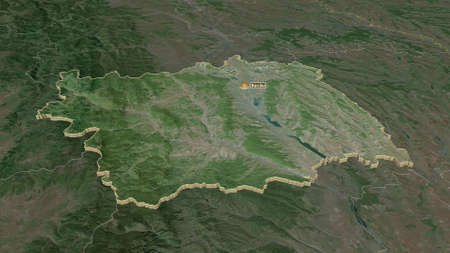 Zoom in on Bacău (county of Romania) extruded. Oblique perspective. Satellite imagery. 3D rendering
