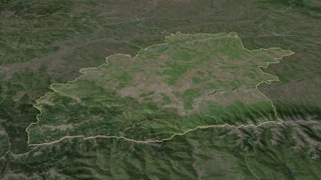 Zoom in on Sibiu (county of Romania) outlined. Oblique perspective. Satellite imagery. 3D rendering