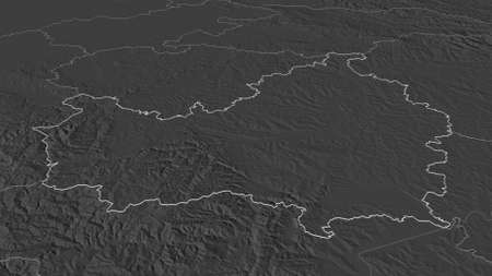 Zoom in on Cluj (county of Romania) outlined. Oblique perspective. Bilevel elevation map with surface waters. 3D rendering