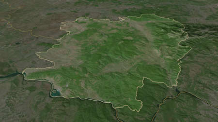 Zoom in on CaraÈ™-Severin (county of Romania) outlined. Oblique perspective. Satellite imagery. 3D rendering
