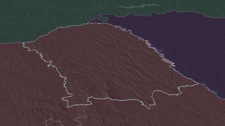 Zoom in on BotoÈ™ani (county of Romania) outlined. Oblique perspective. Colored and bumped map of the administrative division with surface waters. 3D rendering