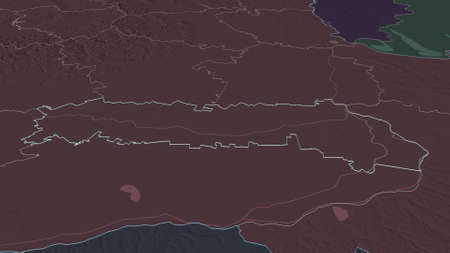 Zoom in on IalomiÈ›a (county of Romania) outlined. Oblique perspective. Colored and bumped map of the administrative division with surface waters. 3D rendering Zdjęcie Seryjne