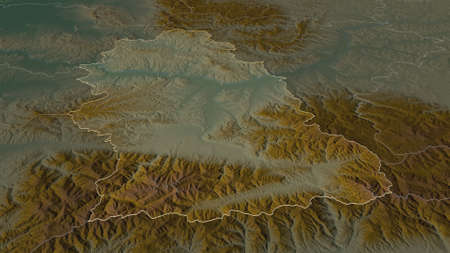 Zoom in on Hunedoara (county of Romania) outlined. Oblique perspective. Topographic relief map with surface waters. 3D rendering Zdjęcie Seryjne