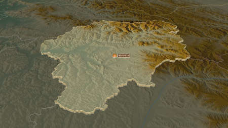 Zoom in on Bistrița-Năsăud (county of Romania) extruded. Oblique perspective. Topographic relief map with surface waters. 3D rendering