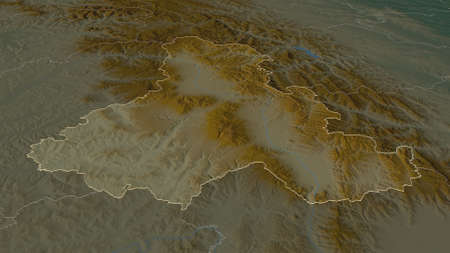 Zoom in on Harghita (county of Romania) outlined. Oblique perspective. Topographic relief map with surface waters. 3D rendering