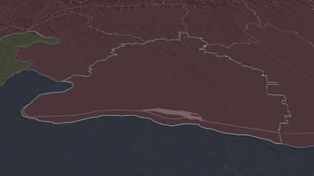 Zoom in on Dolj (county of Romania) outlined. Oblique perspective. Colored and bumped map of the administrative division with surface waters. 3D rendering