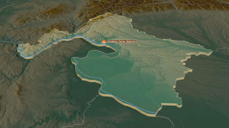 Zoom in on MehedinÈ›i (county of Romania) extruded. Oblique perspective. Topographic relief map with surface waters. 3D rendering