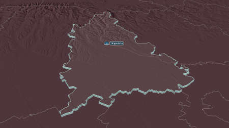 Zoom in on DâmboviÈ›a (county of Romania) extruded. Oblique perspective. Colored and bumped map of the administrative division with surface waters. 3D rendering Zdjęcie Seryjne