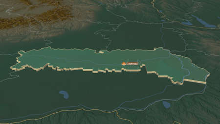 Zoom in on IalomiÈ›a (county of Romania) extruded. Oblique perspective. Topographic relief map with surface waters. 3D rendering Zdjęcie Seryjne