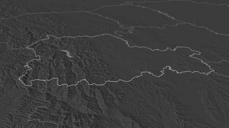 Zoom in on NeamÈ› (county of Romania) outlined. Oblique perspective. Bilevel elevation map with surface waters. 3D rendering