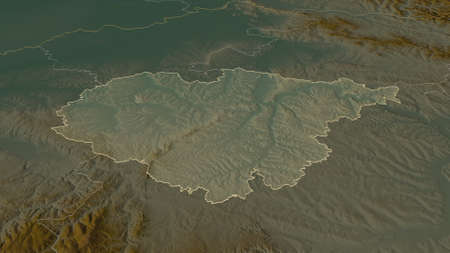 Zoom in on Sălaj (county of Romania) outlined. Oblique perspective. Topographic relief map with surface waters. 3D rendering