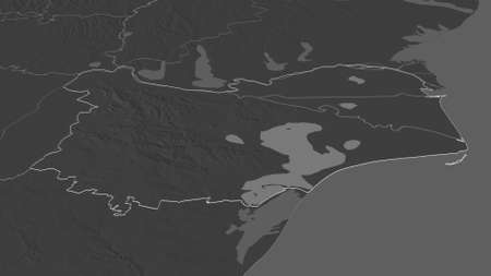 Zoom in on Tulcea (county of Romania) outlined. Oblique perspective. Bilevel elevation map with surface waters. 3D rendering