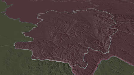 Zoom in on CaraÈ™-Severin (county of Romania) outlined. Oblique perspective. Colored and bumped map of the administrative division with surface waters. 3D rendering Zdjęcie Seryjne