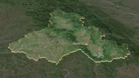 Zoom in on Harghita (county of Romania) extruded. Oblique perspective. Satellite imagery. 3D rendering