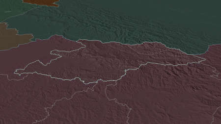 Zoom in on MaramureÈ™ (county of Romania) outlined. Oblique perspective. Colored and bumped map of the administrative division with surface waters. 3D rendering Zdjęcie Seryjne
