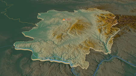 Zoom in on CaraÈ™-Severin (county of Romania) extruded. Oblique perspective. Topographic relief map with surface waters. 3D rendering Zdjęcie Seryjne