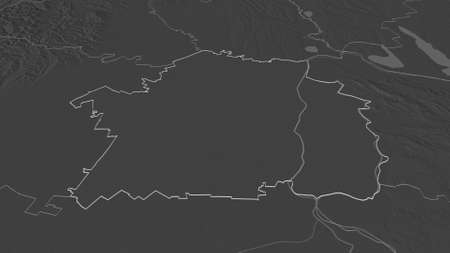 Zoom in on Brăila (county of Romania) outlined. Oblique perspective. Bilevel elevation map with surface waters. 3D rendering