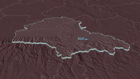 Zoom in on BraÈ™ov (county of Romania) extruded. Oblique perspective. Colored and bumped map of the administrative division with surface waters. 3D rendering Zdjęcie Seryjne