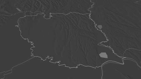 Zoom in on GalaÈ›i (county of Romania) outlined. Oblique perspective. Bilevel elevation map with surface waters. 3D rendering