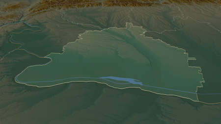 Zoom in on Dolj (county of Romania) outlined. Oblique perspective. Topographic relief map with surface waters. 3D rendering Zdjęcie Seryjne