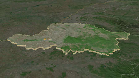 Zoom in on Arad (county of Romania) extruded. Oblique perspective. Satellite imagery. 3D rendering Zdjęcie Seryjne