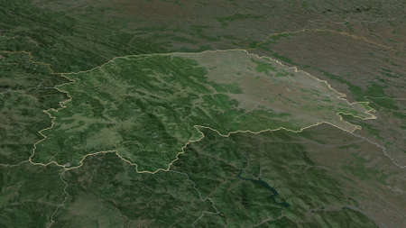 Zoom in on Suceava (county of Romania) outlined. Oblique perspective. Satellite imagery. 3D rendering