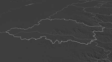 Zoom in on Arad (county of Romania) outlined. Oblique perspective. Bilevel elevation map with surface waters. 3D rendering