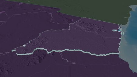 Zoom in on Tanga (region of Tanzania) extruded. Oblique perspective. Colored and bumped map of the administrative division with surface waters. 3D rendering Stockfoto