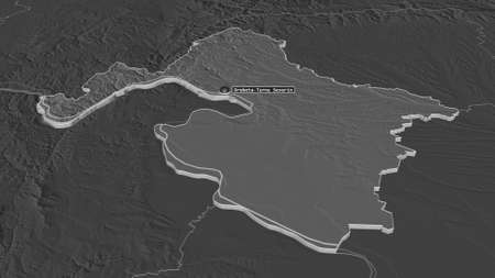 Zoom in on MehedinÈ›i (county of Romania) extruded. Oblique perspective. Bilevel elevation map with surface waters. 3D rendering