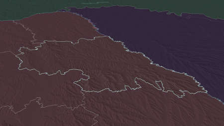 Zoom in on IaÈ™i (county of Romania) outlined. Oblique perspective. Colored and bumped map of the administrative division with surface waters. 3D rendering