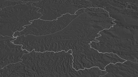Zoom in on MureÈ™ (county of Romania) outlined. Oblique perspective. Bilevel elevation map with surface waters. 3D rendering