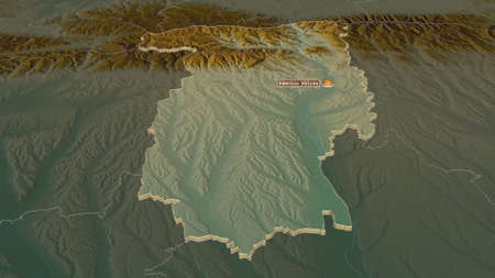 Zoom in on Vâlcea (county of Romania) extruded. Oblique perspective. Topographic relief map with surface waters. 3D rendering Zdjęcie Seryjne