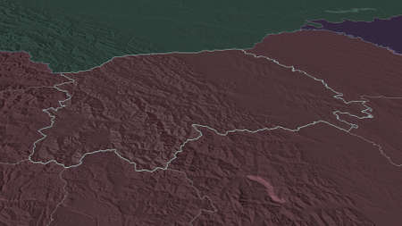 Zoom in on Suceava (county of Romania) outlined. Oblique perspective. Colored and bumped map of the administrative division with surface waters. 3D rendering