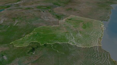 Zoom in on Tanga (region of Tanzania) outlined. Oblique perspective. Satellite imagery. 3D rendering
