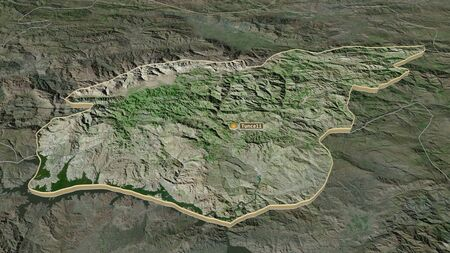 Zoom in on Tunceli (province of Turkey) extruded. Oblique perspective. Satellite imagery. 3D rendering