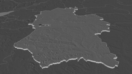 Zoom in on Wiltshire (administrative county of England) extruded. Oblique perspective. Bilevel elevation map with surface waters. 3D rendering