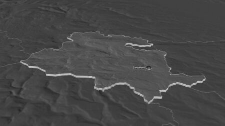 Zoom in on Bradford (administrative county of England) extruded. Oblique perspective. Bilevel elevation map with surface waters. 3D rendering 写真素材