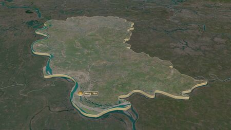 Zoom in on H?ng Yên (province of Vietnam) extruded. Oblique perspective. Satellite imagery. 3D rendering